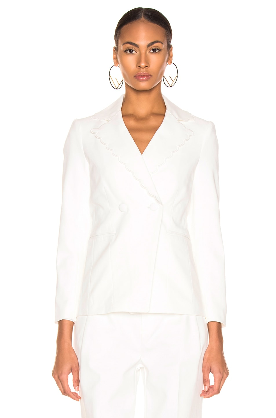 Image 2 of FRAME Scallop Blazer in Off White