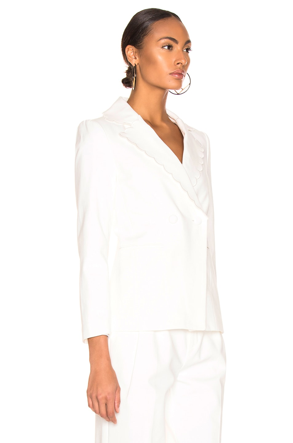 Image 3 of FRAME Scallop Blazer in Off White