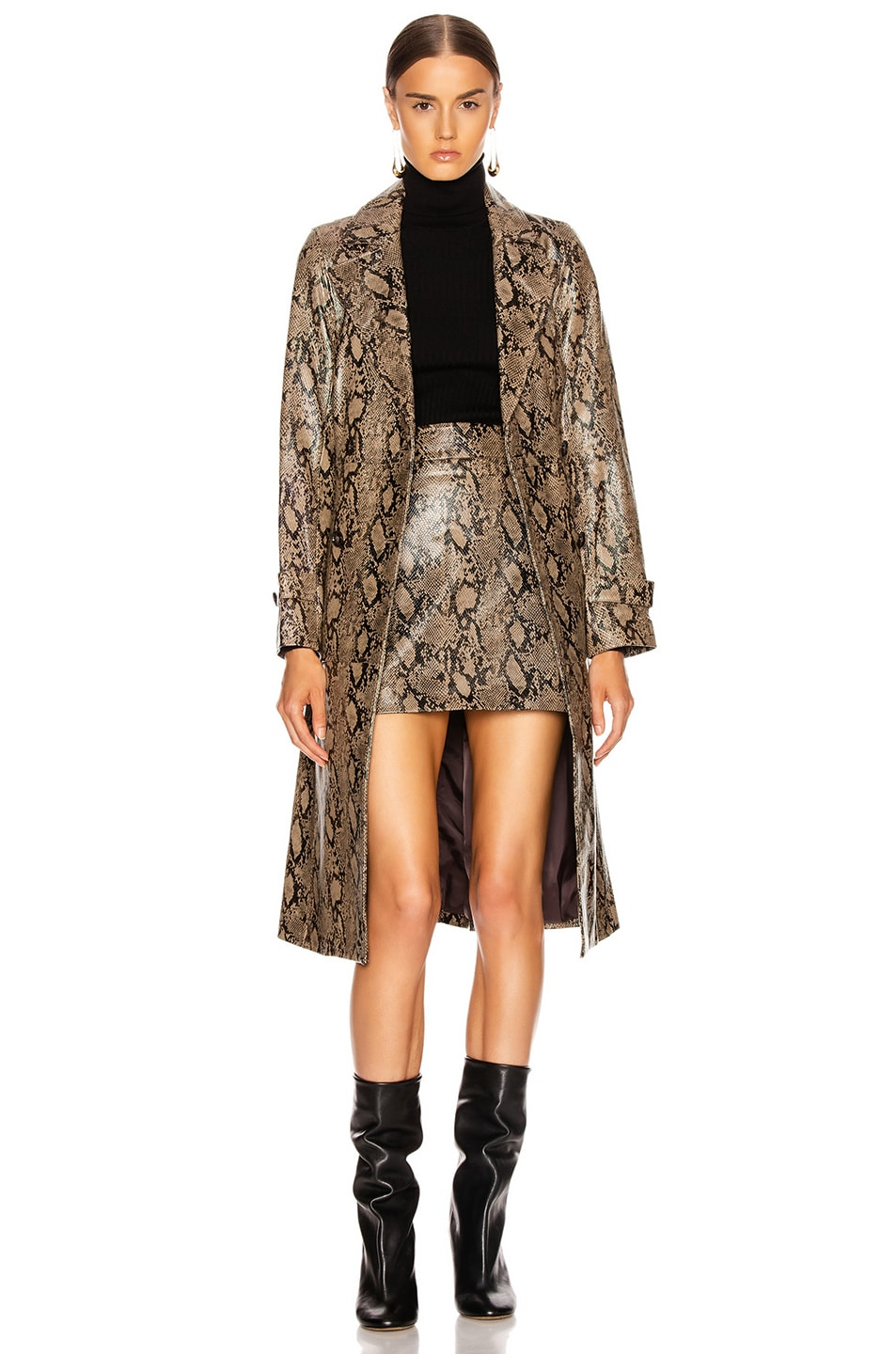 Image 1 of FRAME Embossed Python Trench in Brown Multi