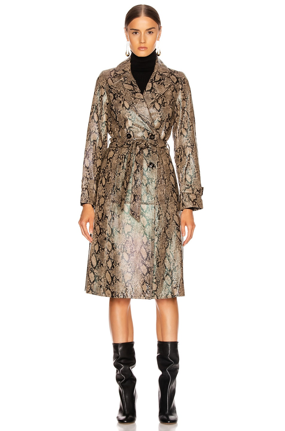 Image 2 of FRAME Embossed Python Trench in Brown Multi