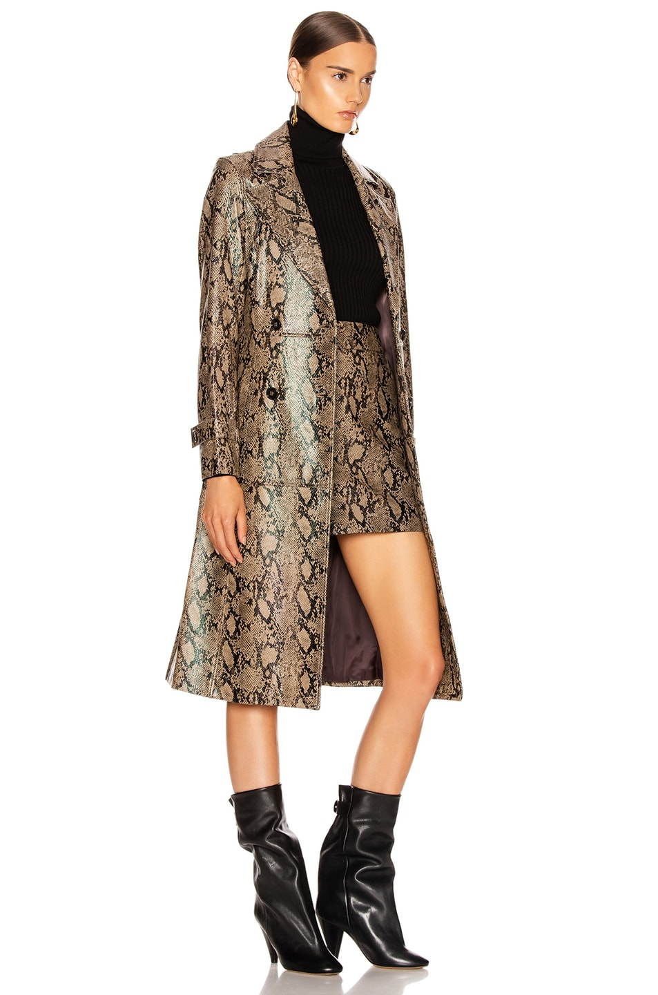Image 3 of FRAME Embossed Python Trench in Brown Multi