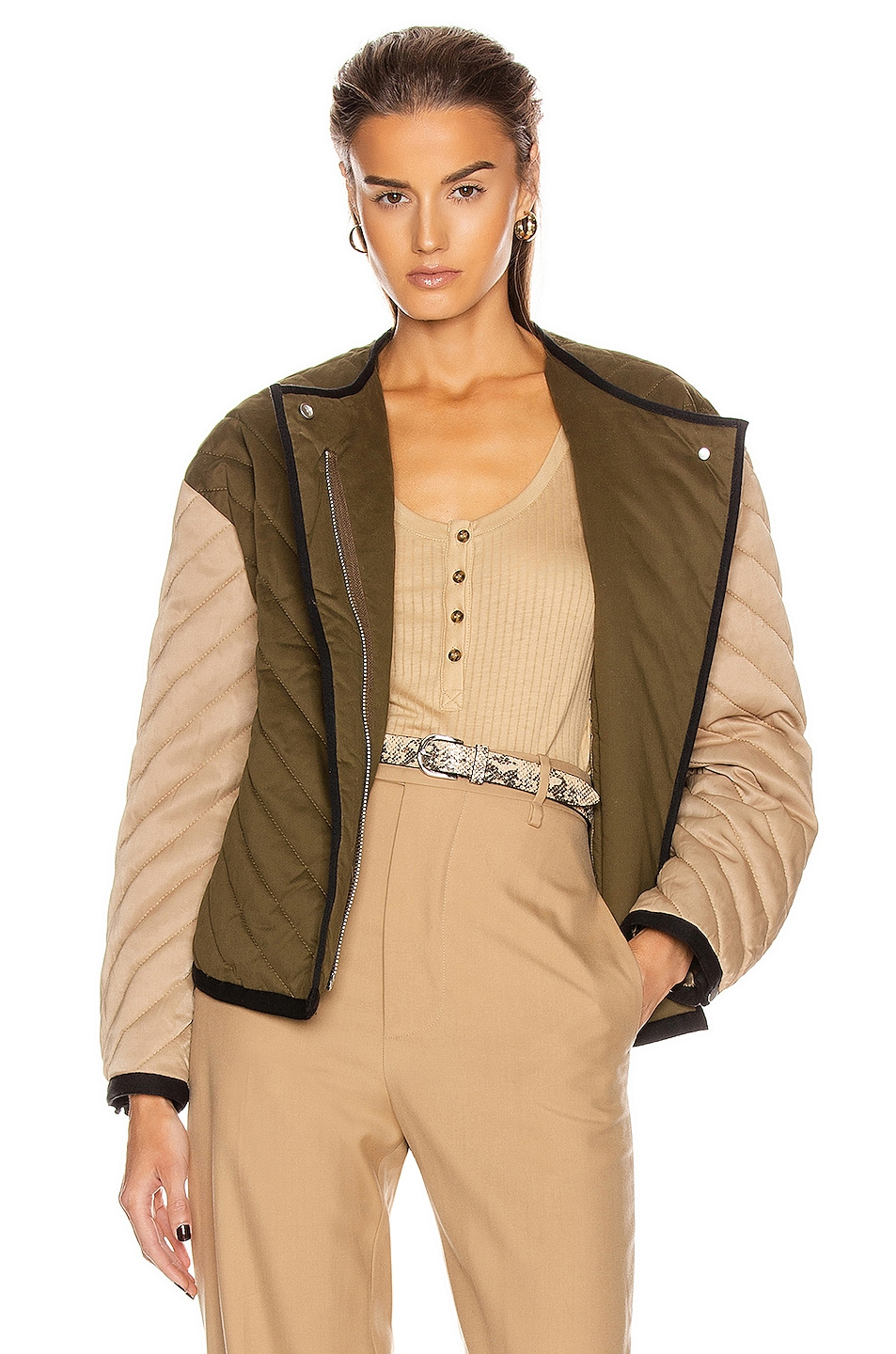 Image 1 of FRAME Quilted Colorblock Jacket in Cargo Multi