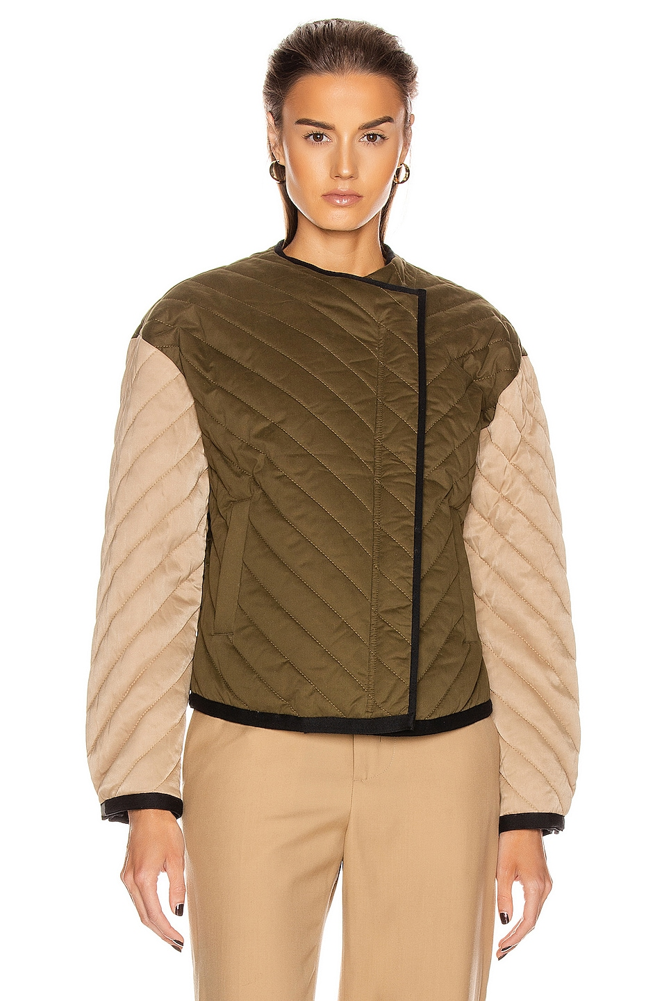 Image 2 of FRAME Quilted Colorblock Jacket in Cargo Multi