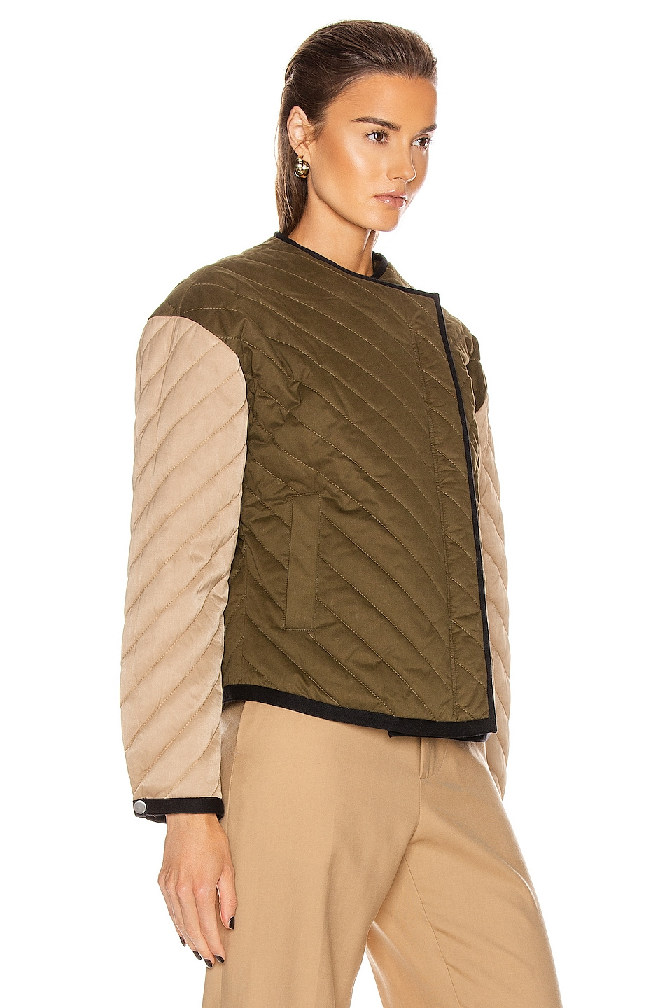 Image 3 of FRAME Quilted Colorblock Jacket in Cargo Multi