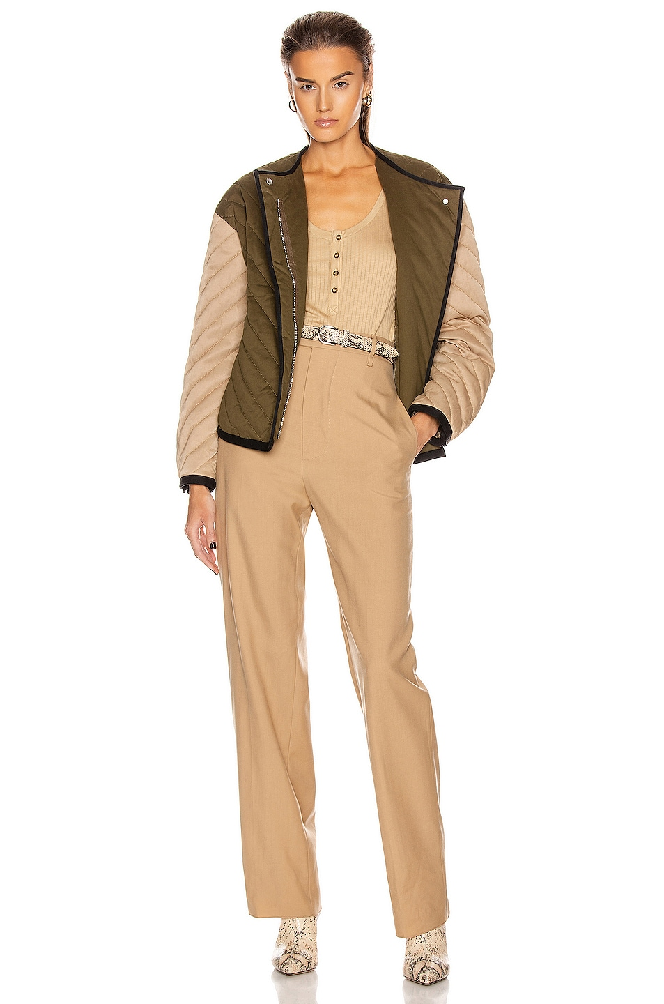 Image 5 of FRAME Quilted Colorblock Jacket in Cargo Multi