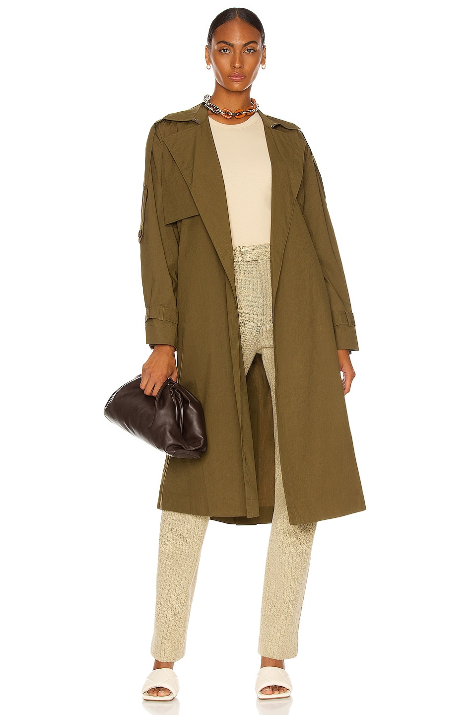 Image 1 of FRAME Oversized Trench Coat in Moss