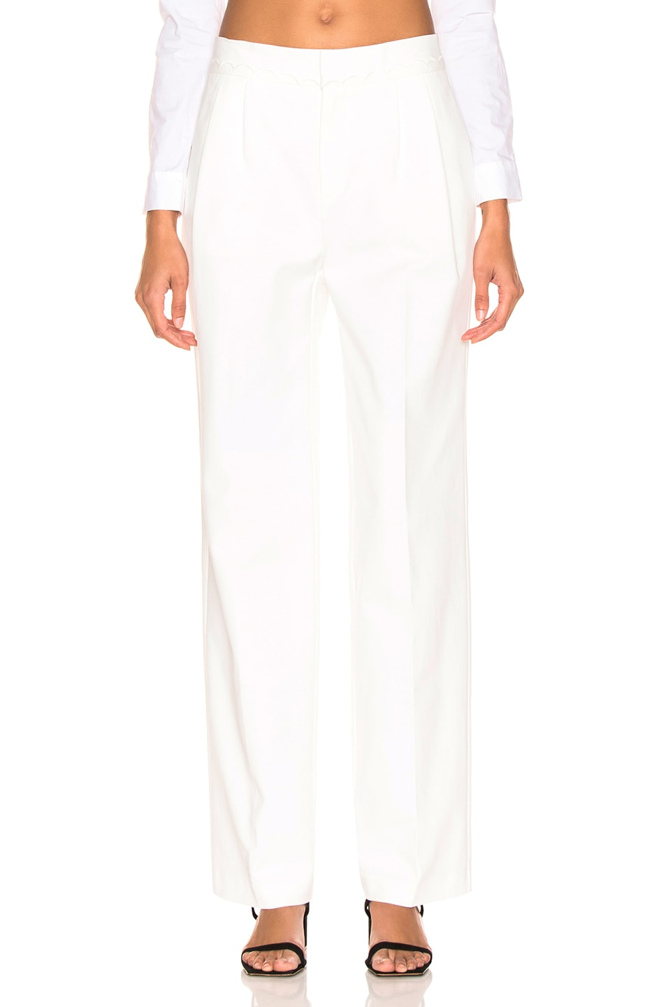 Image 1 of FRAME Scallop Soft Trouser in Off White