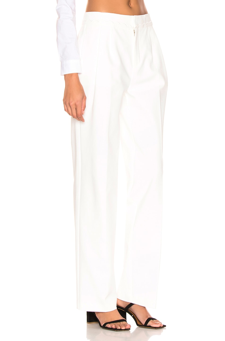 Image 2 of FRAME Scallop Soft Trouser in Off White