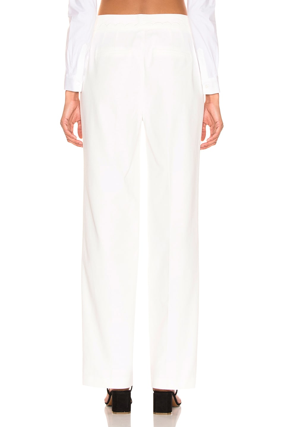 Image 3 of FRAME Scallop Soft Trouser in Off White