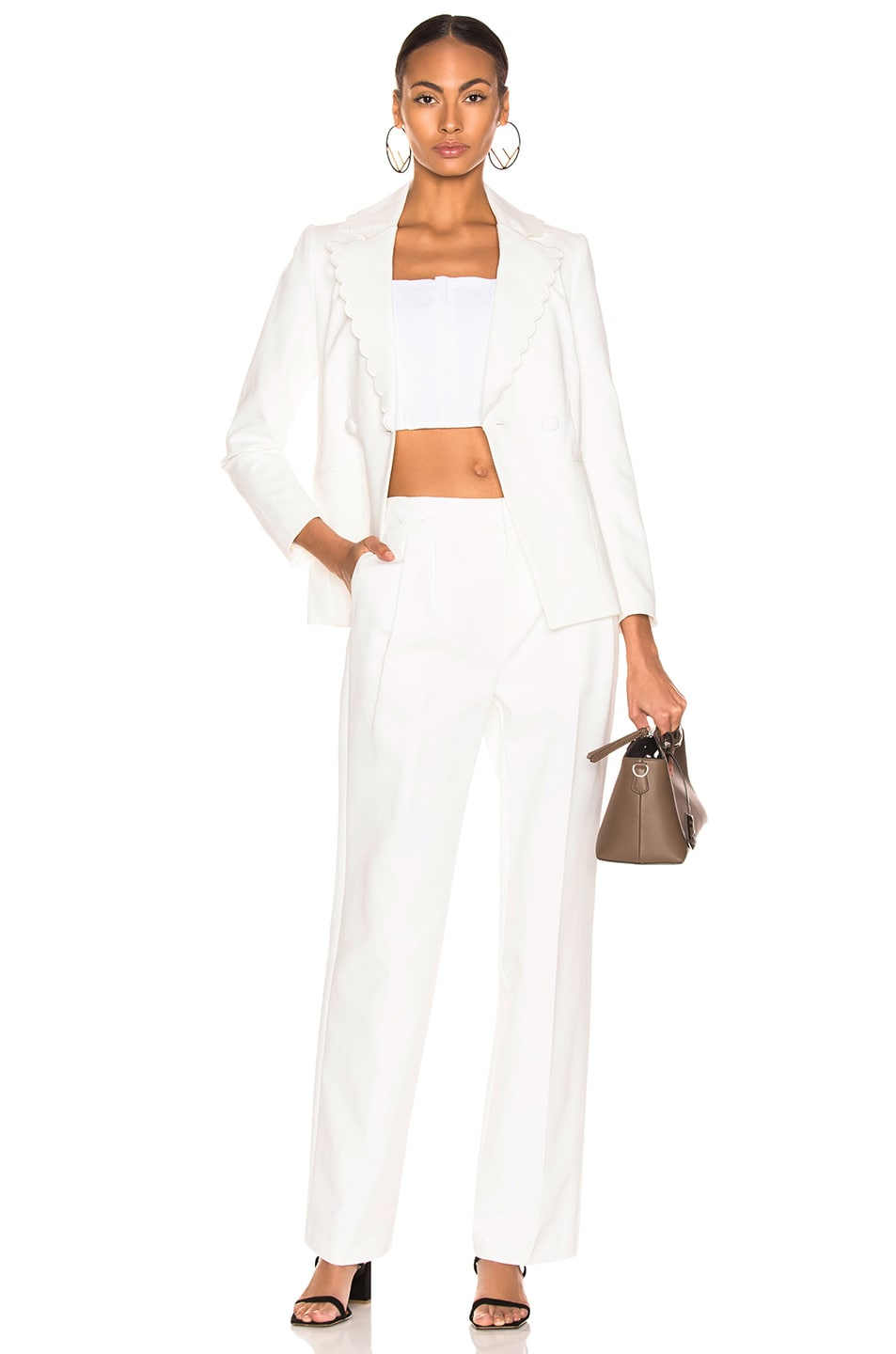 Image 4 of FRAME Scallop Soft Trouser in Off White