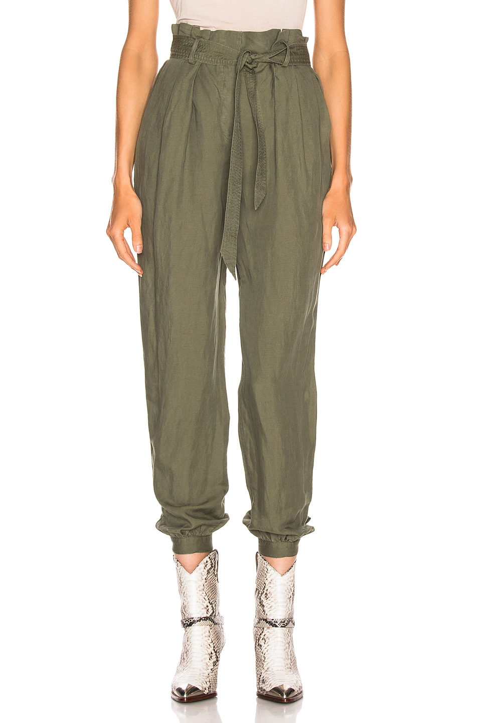 Image 1 of FRAME Paperbag Trouser in Army Green