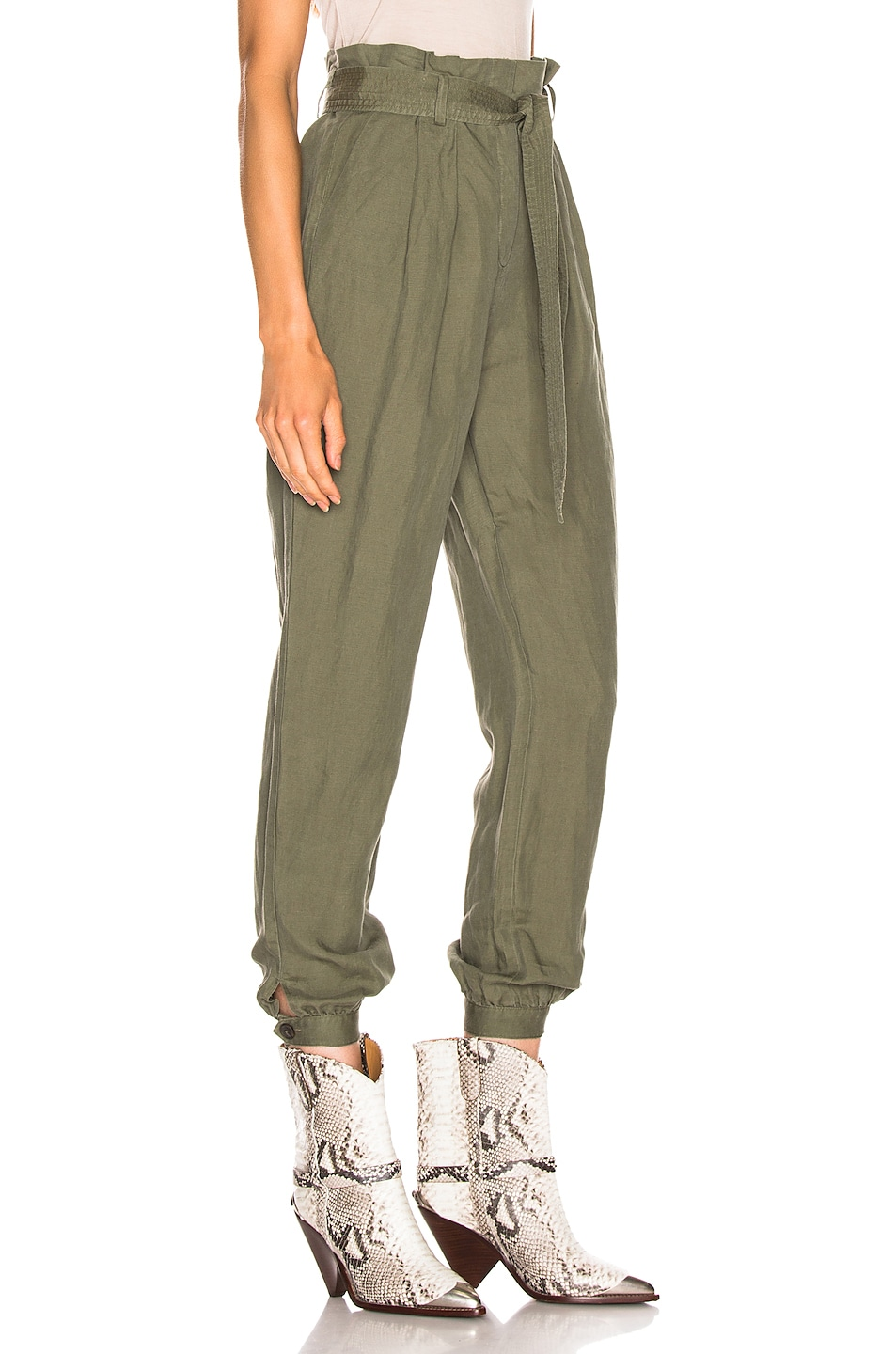 Image 2 of FRAME Paperbag Trouser in Army Green