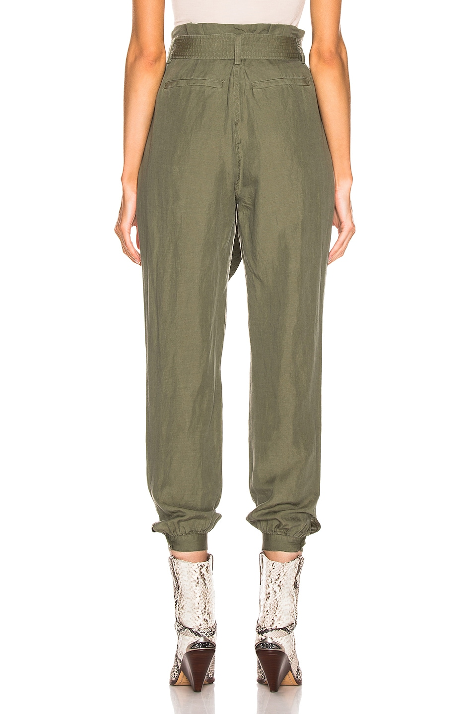 Image 3 of FRAME Paperbag Trouser in Army Green