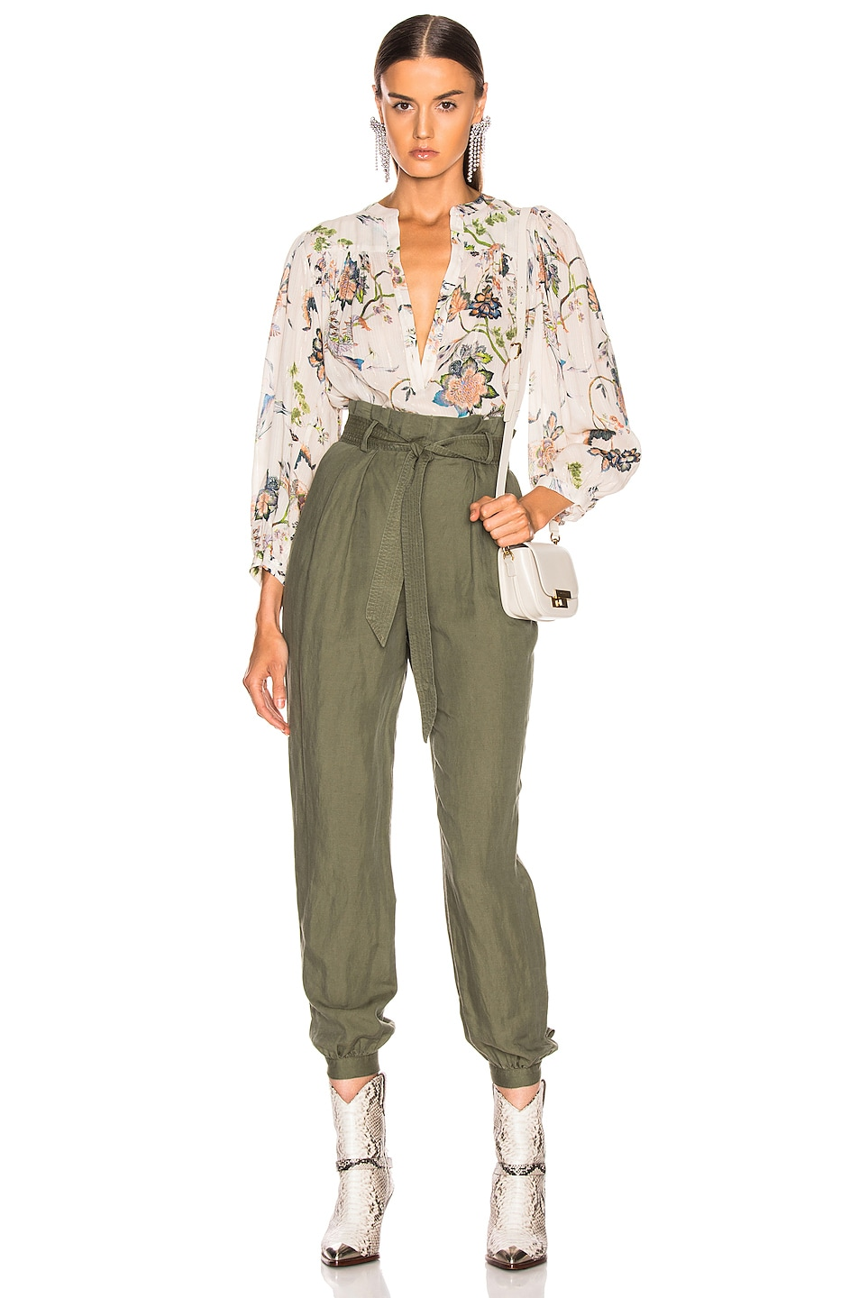 Image 4 of FRAME Paperbag Trouser in Army Green