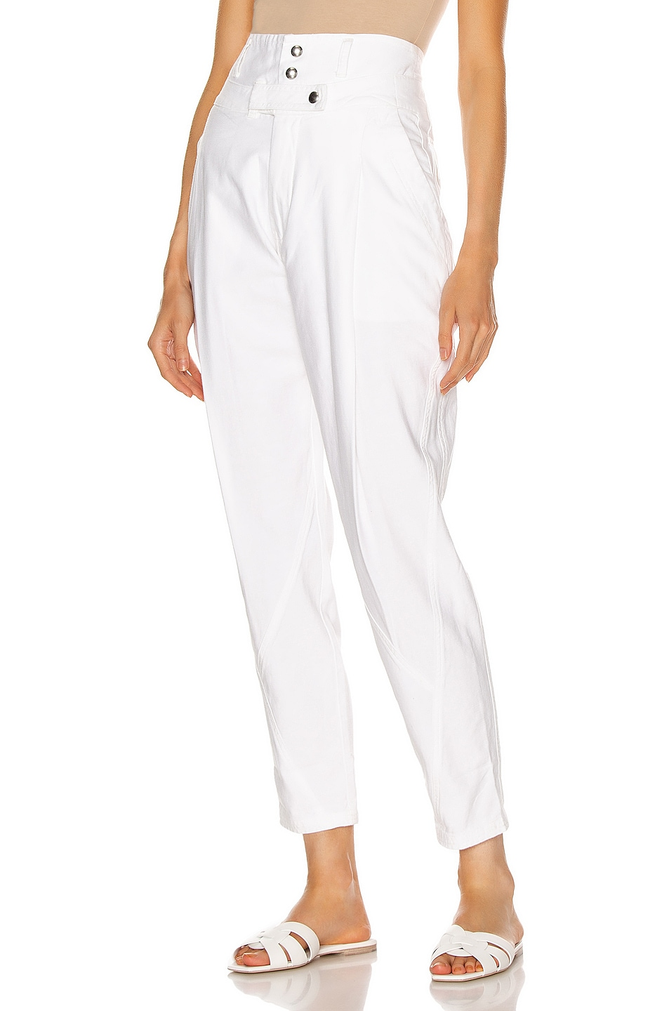 Image 1 of FRAME Twisted Trouser in Blanc