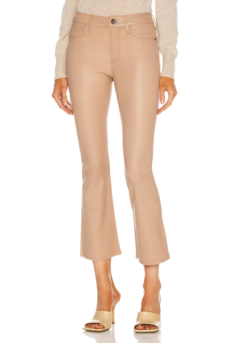 Image 1 of FRAME Le Crop Mini Boot Leather Pant in Toasted Almond