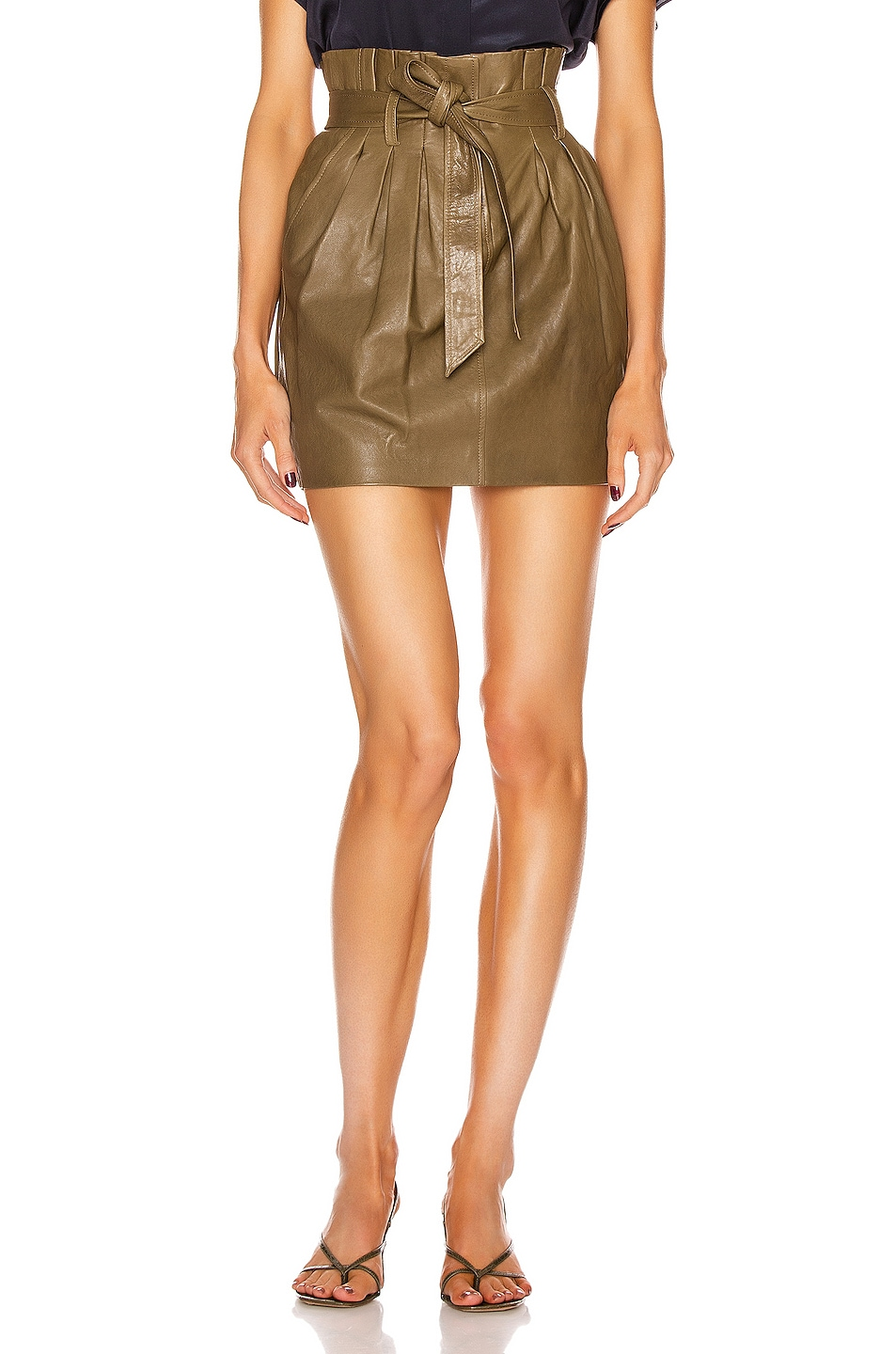 Image 1 of FRAME Paperbag Leather Skirt in O/D
