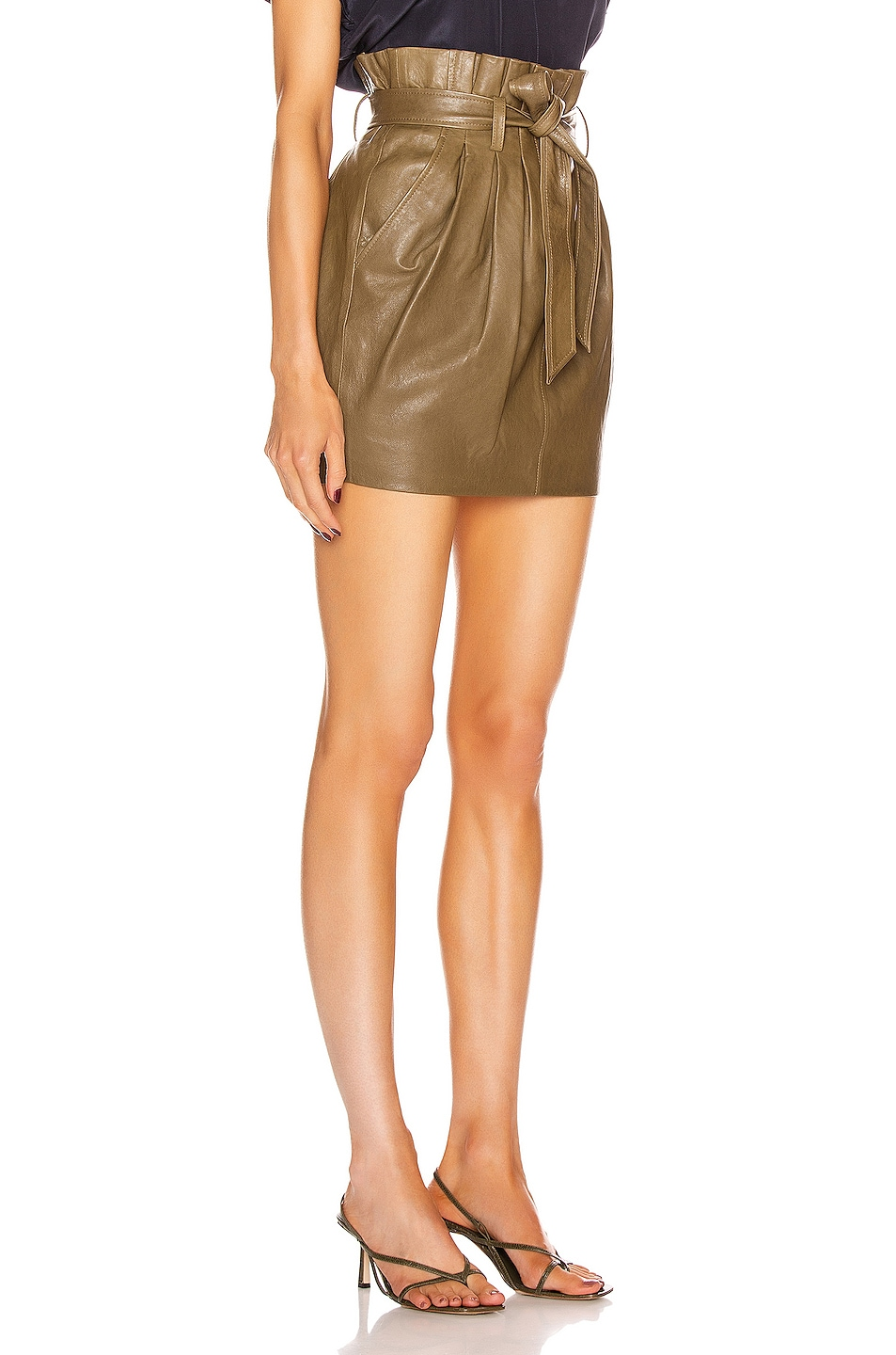 Image 2 of FRAME Paperbag Leather Skirt in O/D