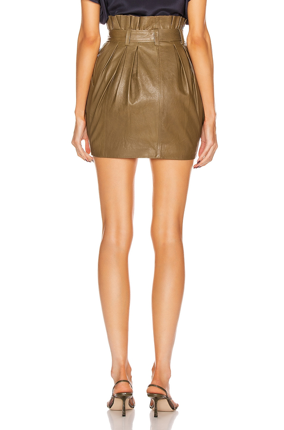 Image 3 of FRAME Paperbag Leather Skirt in O/D