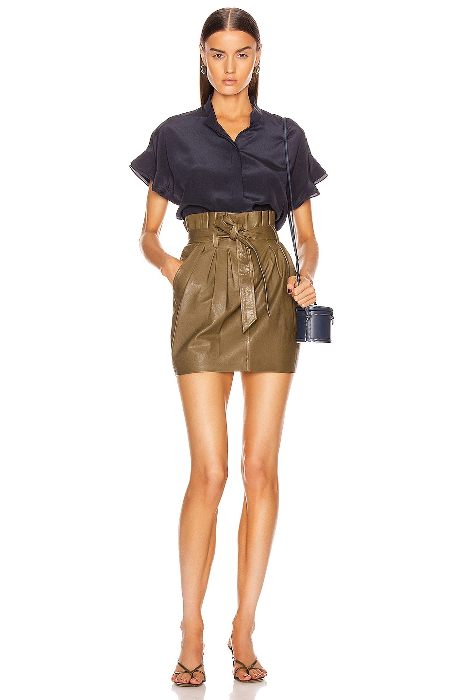 Image 4 of FRAME Paperbag Leather Skirt in O/D