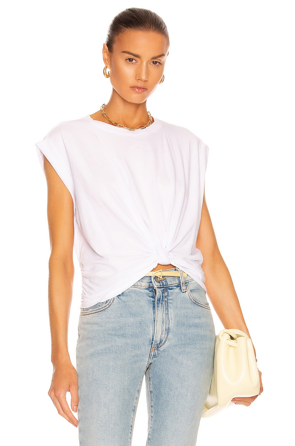 Image 1 of FRAME Knotted Rolled Tee in Blanc