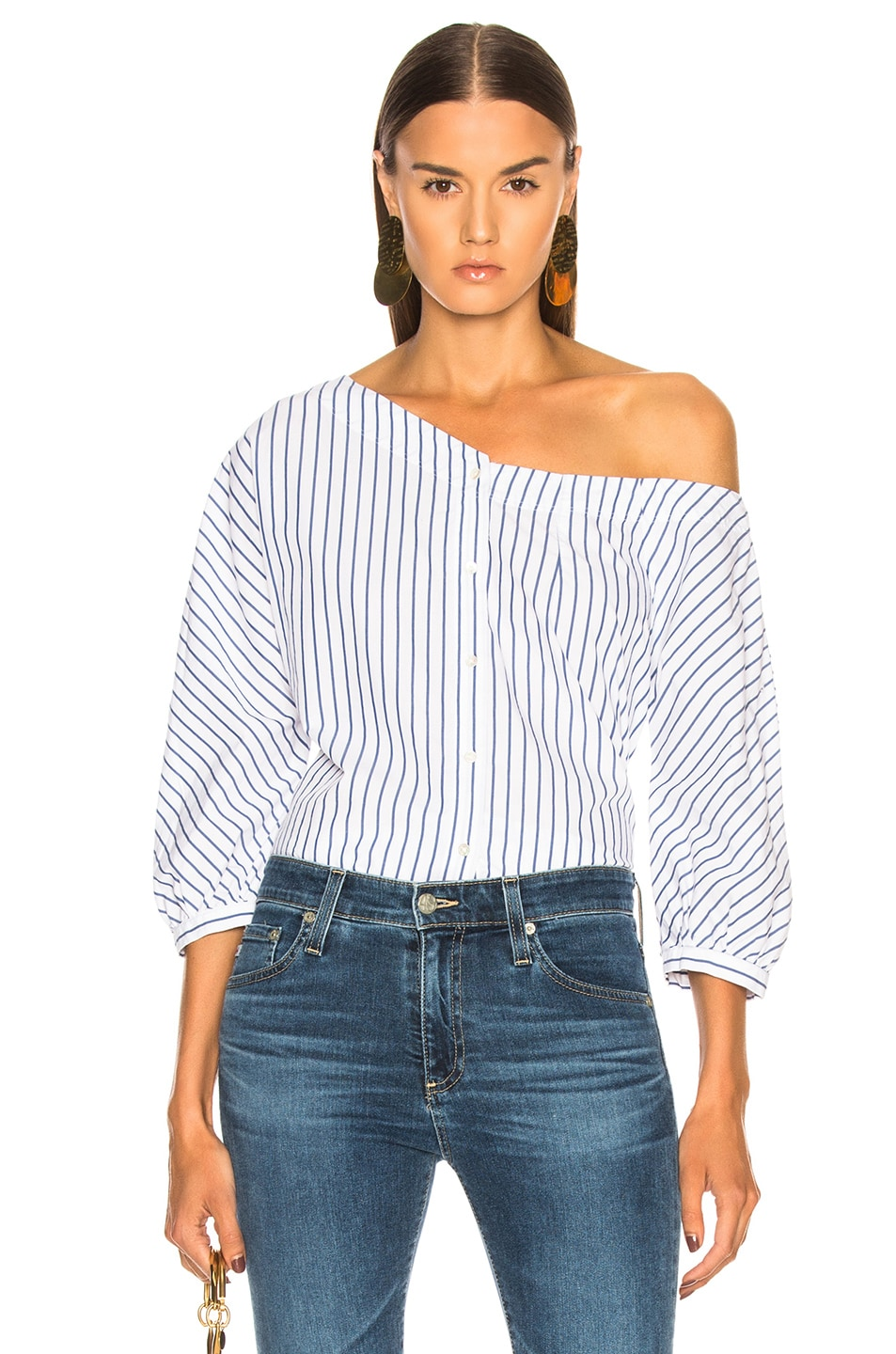 Image 1 of FRAME Button Up Tie Top in Blanc Multi