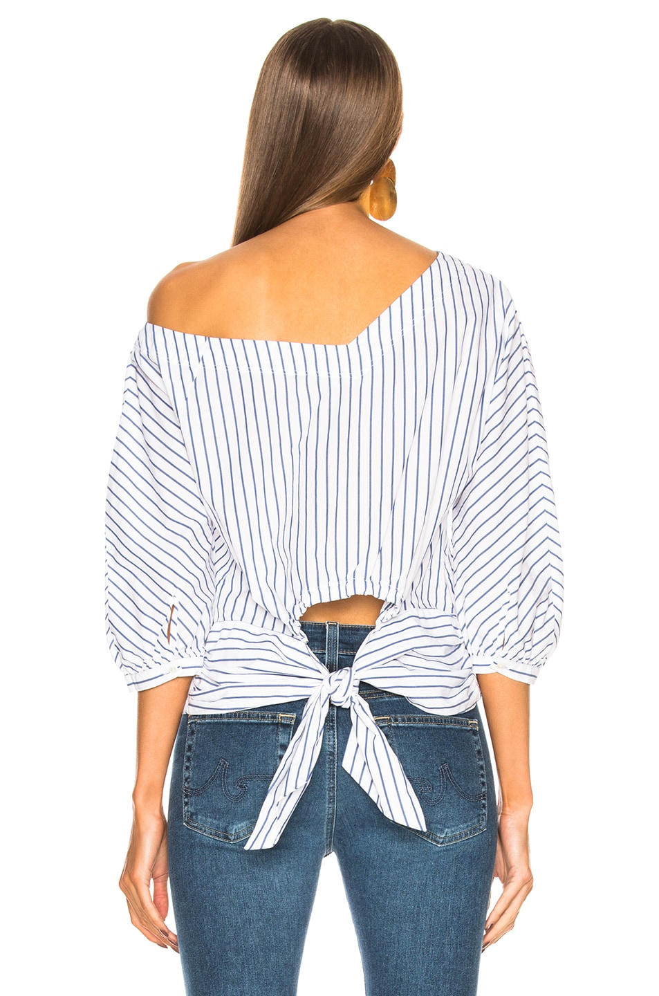 Image 4 of FRAME Button Up Tie Top in Blanc Multi