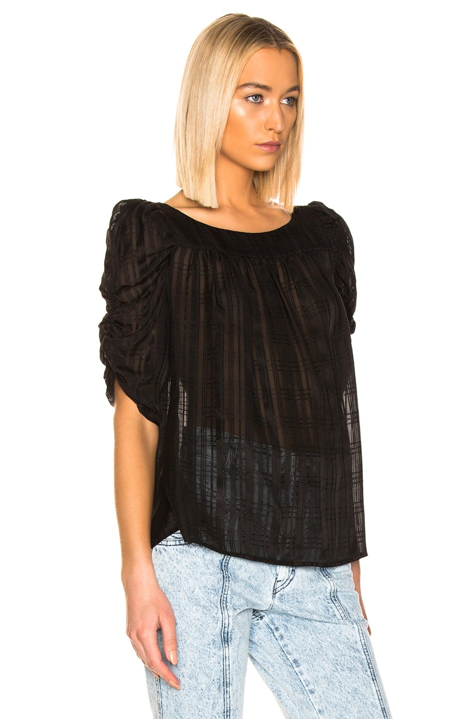 Image 2 of FRAME Kate Shirred Top in Noir