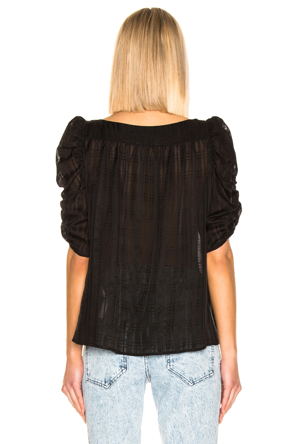 Image 3 of FRAME Kate Shirred Top in Noir