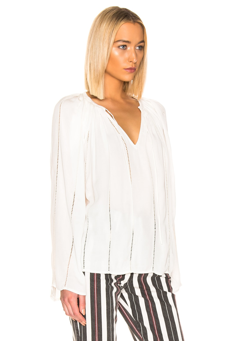 Image 2 of FRAME Lattice Peasant Top in Off White