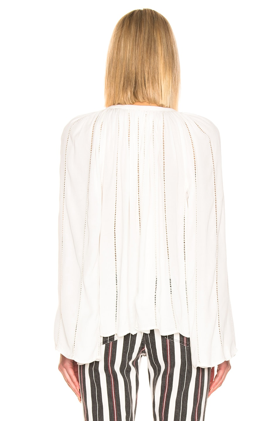 Image 3 of FRAME Lattice Peasant Top in Off White