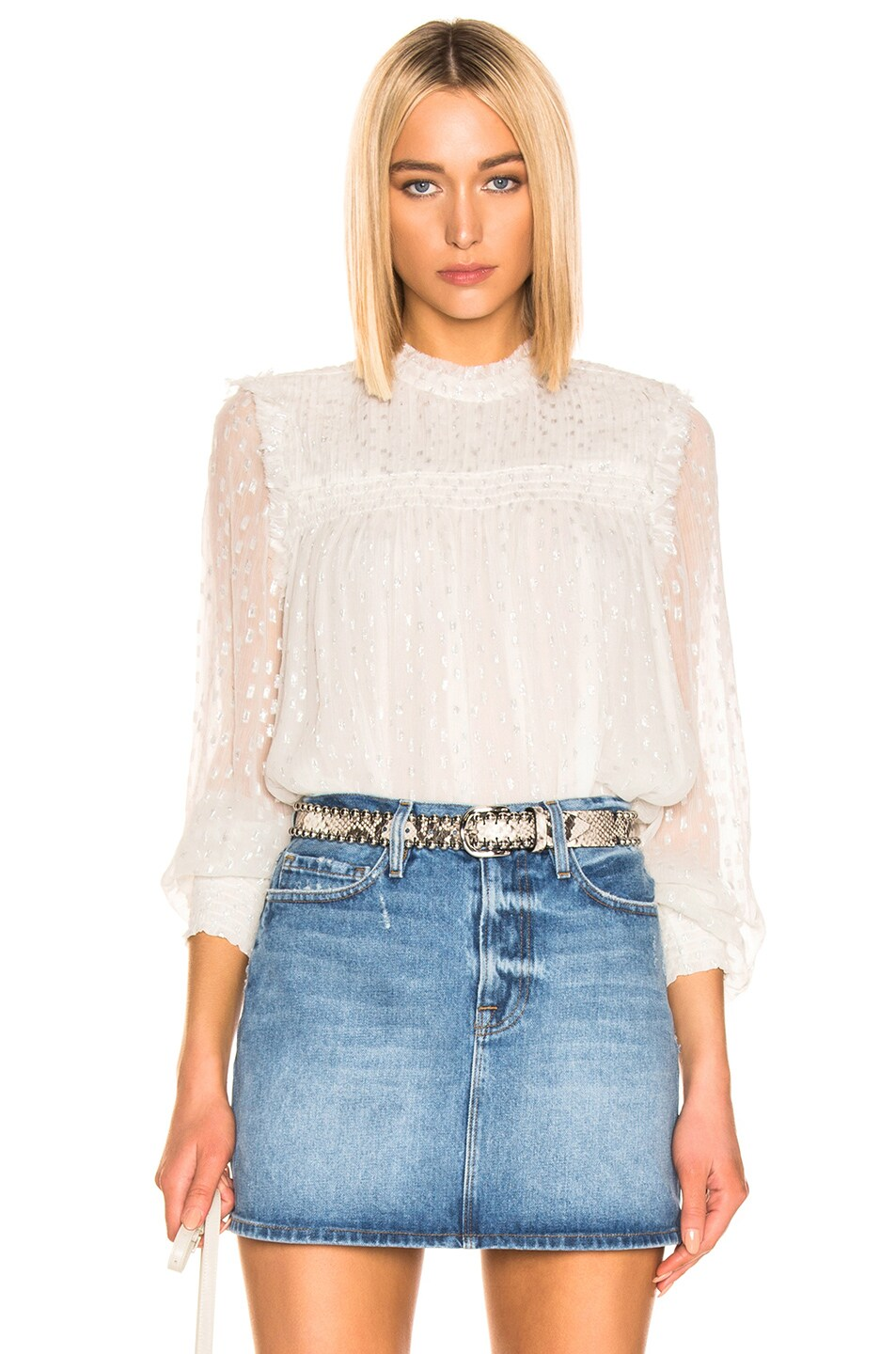 Image 1 of FRAME Smocked Metallic Top in Off White Multi