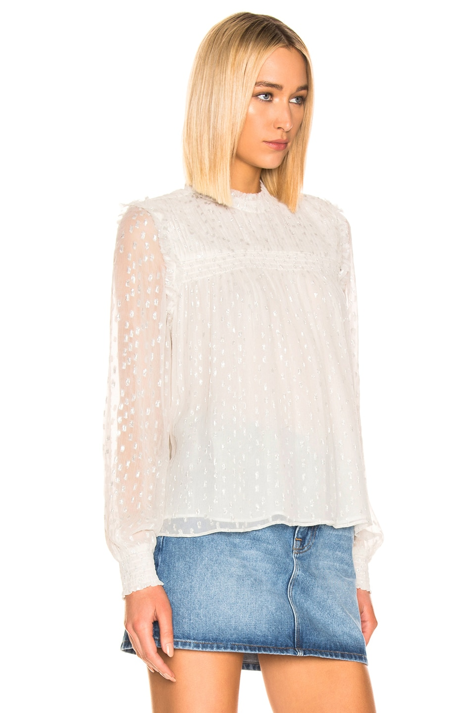 Image 2 of FRAME Smocked Metallic Top in Off White Multi