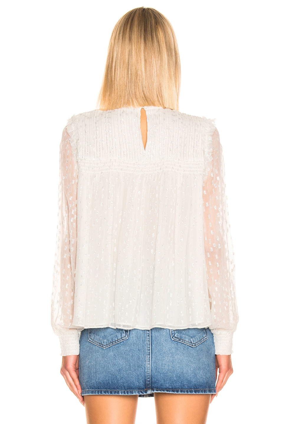 Image 3 of FRAME Smocked Metallic Top in Off White Multi