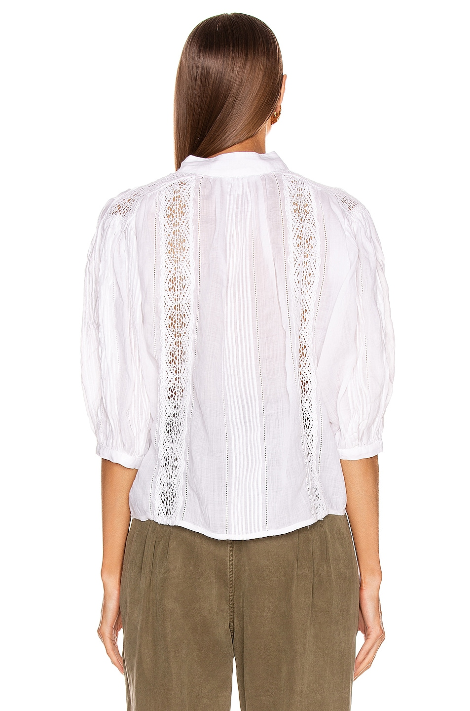 Image 3 of FRAME Cali Lace Popover Top in Blanc