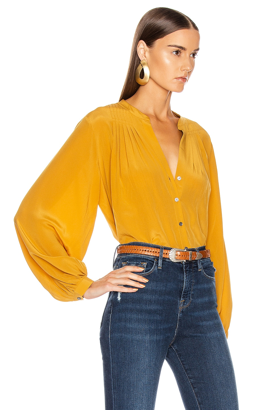 Image 2 of FRAME Pleated Blouse in Marigold
