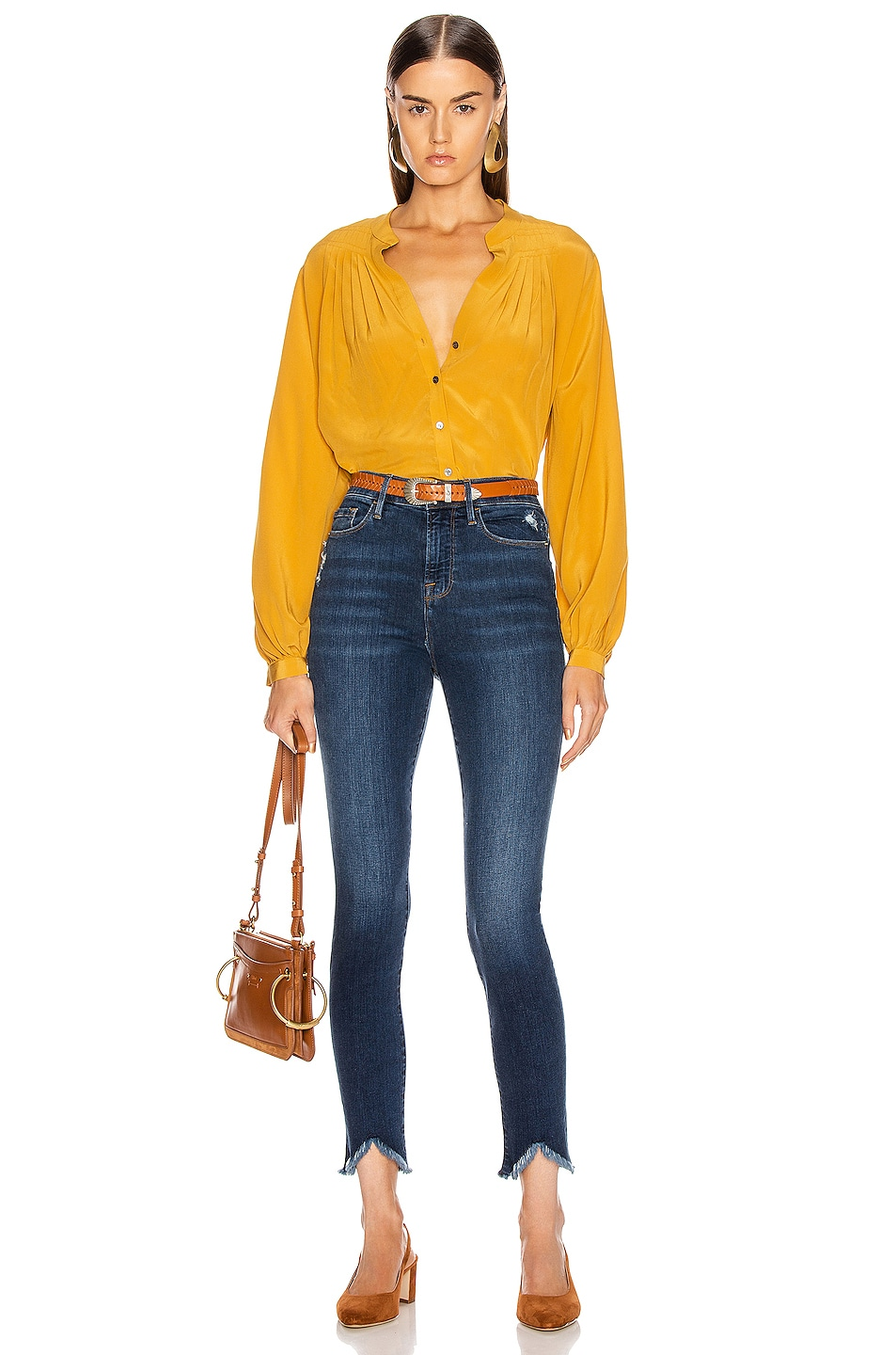 Image 4 of FRAME Pleated Blouse in Marigold