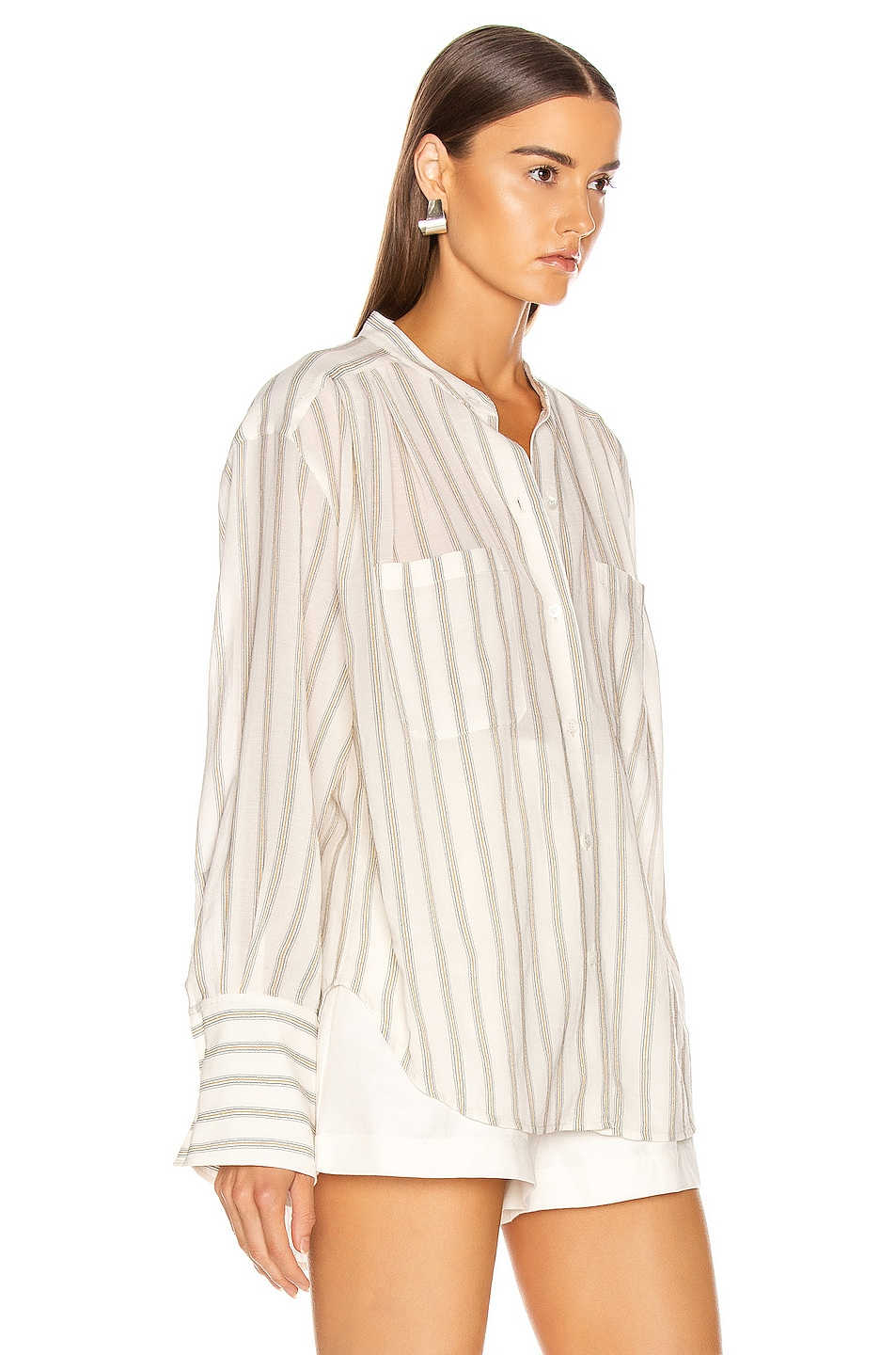 Image 2 of FRAME Double Pocket Long Sleeve Top in Off White Multi