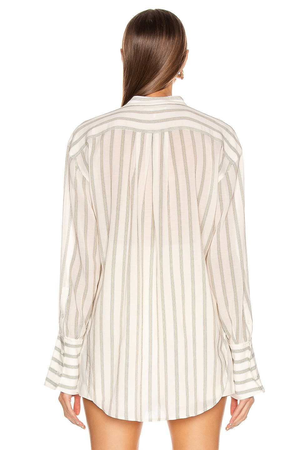 Image 3 of FRAME Double Pocket Long Sleeve Top in Off White Multi