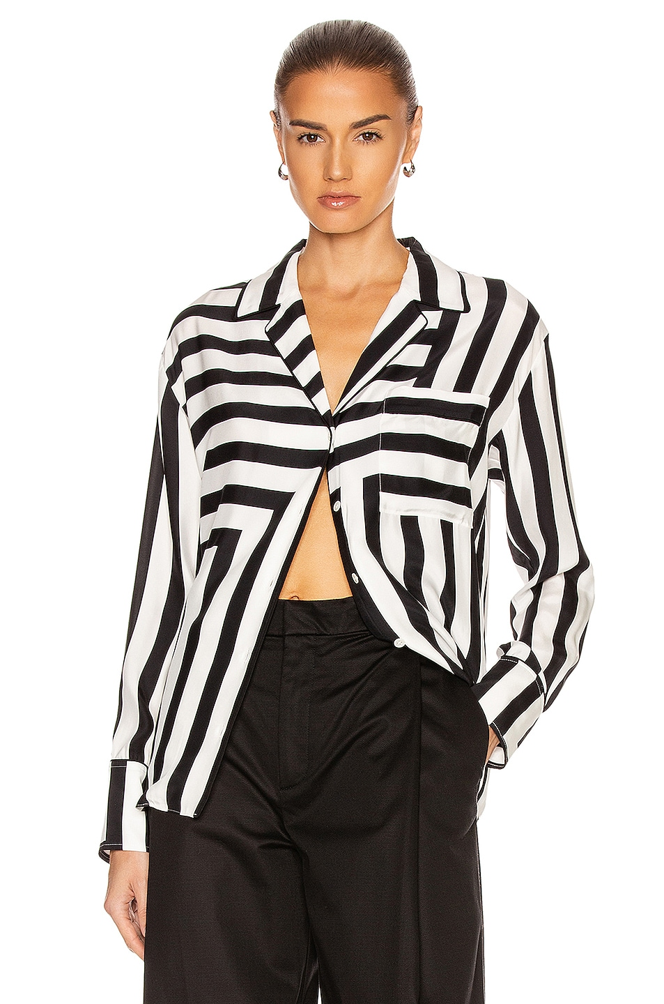 Image 1 of FRAME Mix Stripe PJ Blouse in Off White Multi