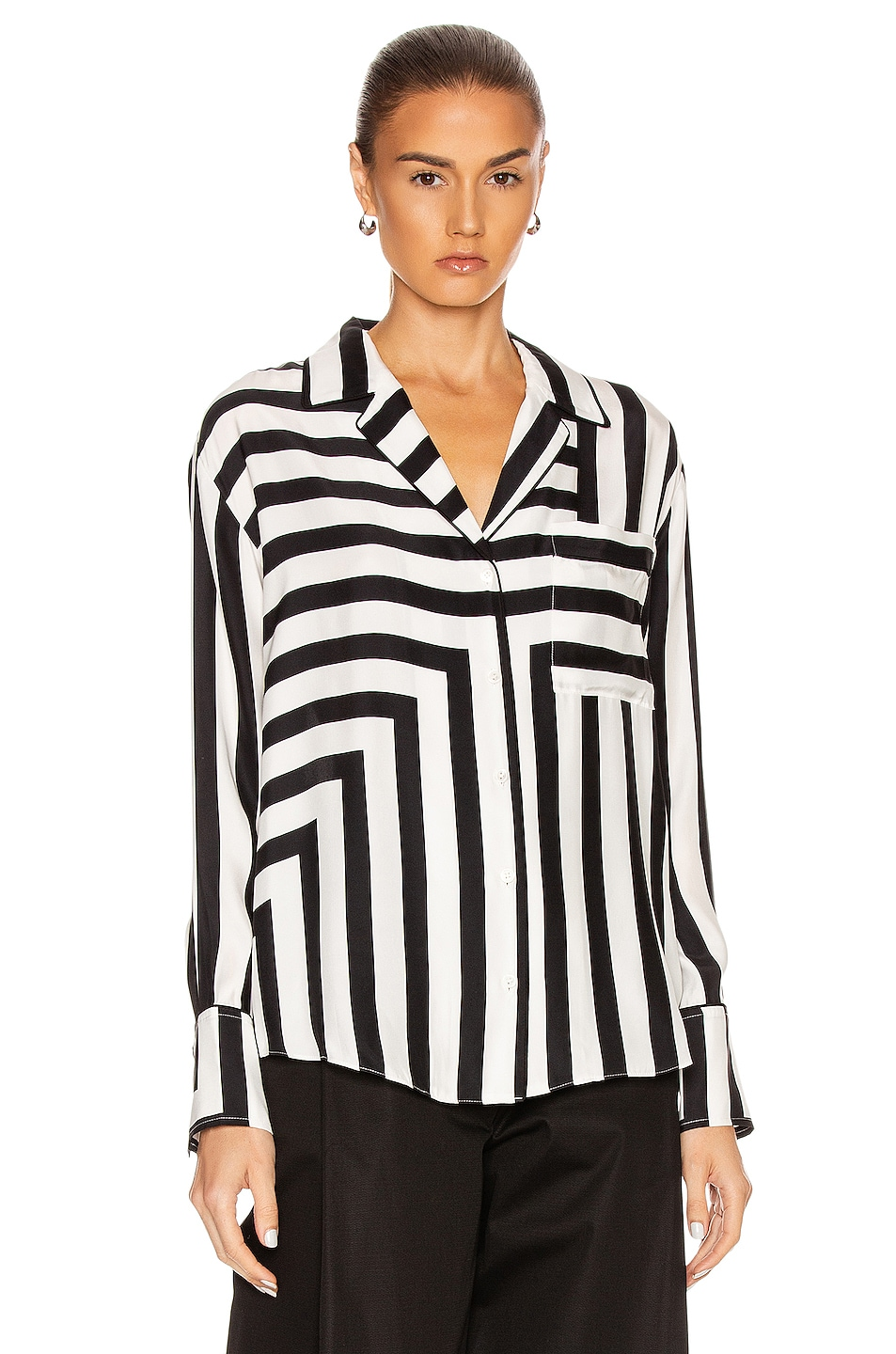 Image 2 of FRAME Mix Stripe PJ Blouse in Off White Multi