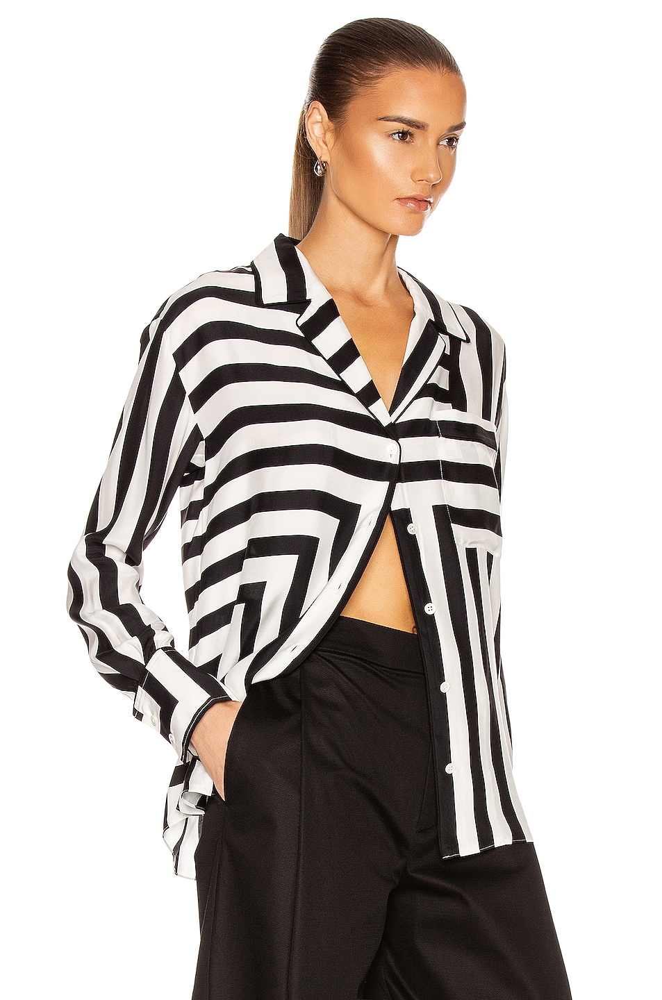 Image 3 of FRAME Mix Stripe PJ Blouse in Off White Multi