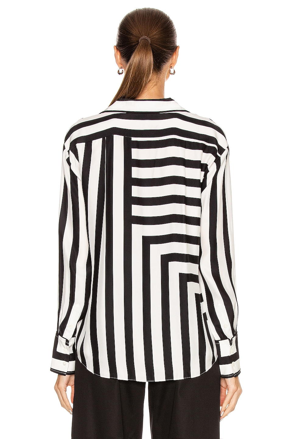 Image 4 of FRAME Mix Stripe PJ Blouse in Off White Multi