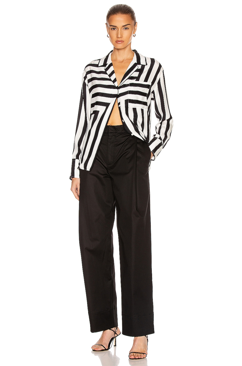 Image 5 of FRAME Mix Stripe PJ Blouse in Off White Multi
