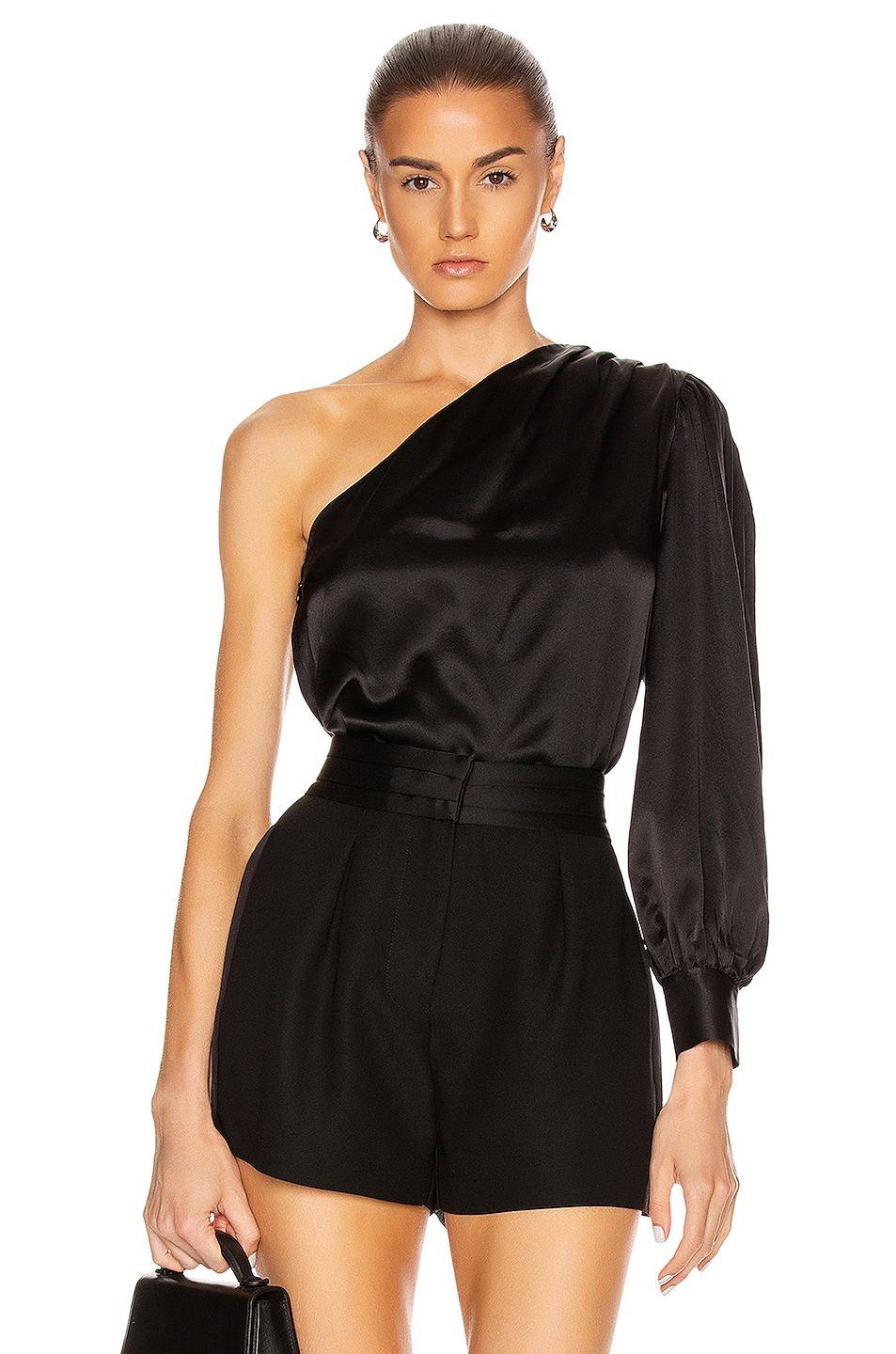 Image 1 of FRAME Relaxed One Shoulder Top in Noir