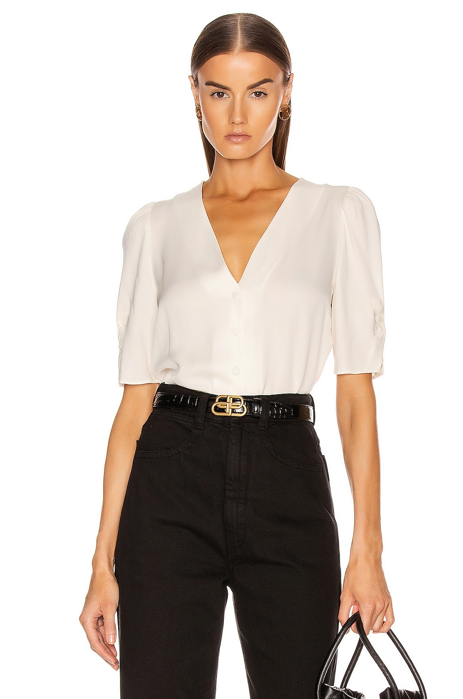 Image 1 of FRAME Olivia Top in Off White