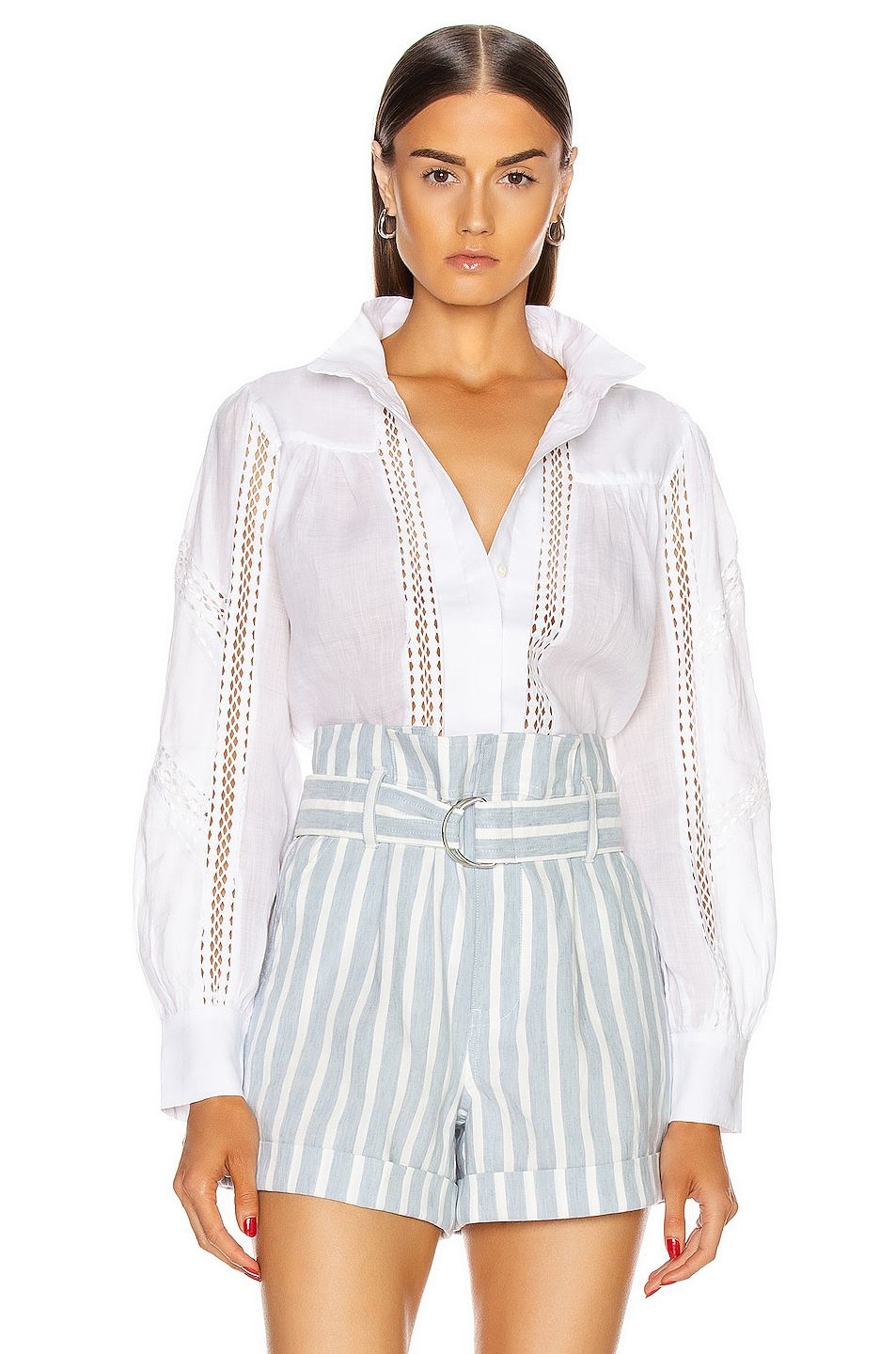 Image 1 of FRAME Panel Lace Button Up Top in Blanc