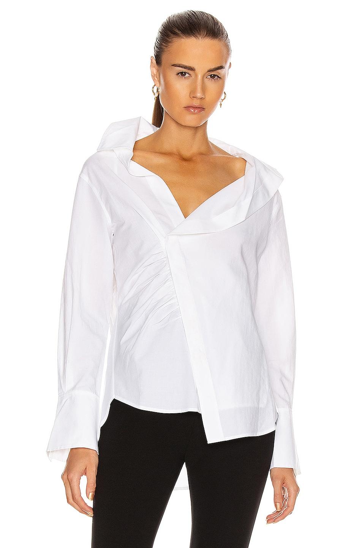 Image 1 of FRAME Asymmetric Shirt in Blanc