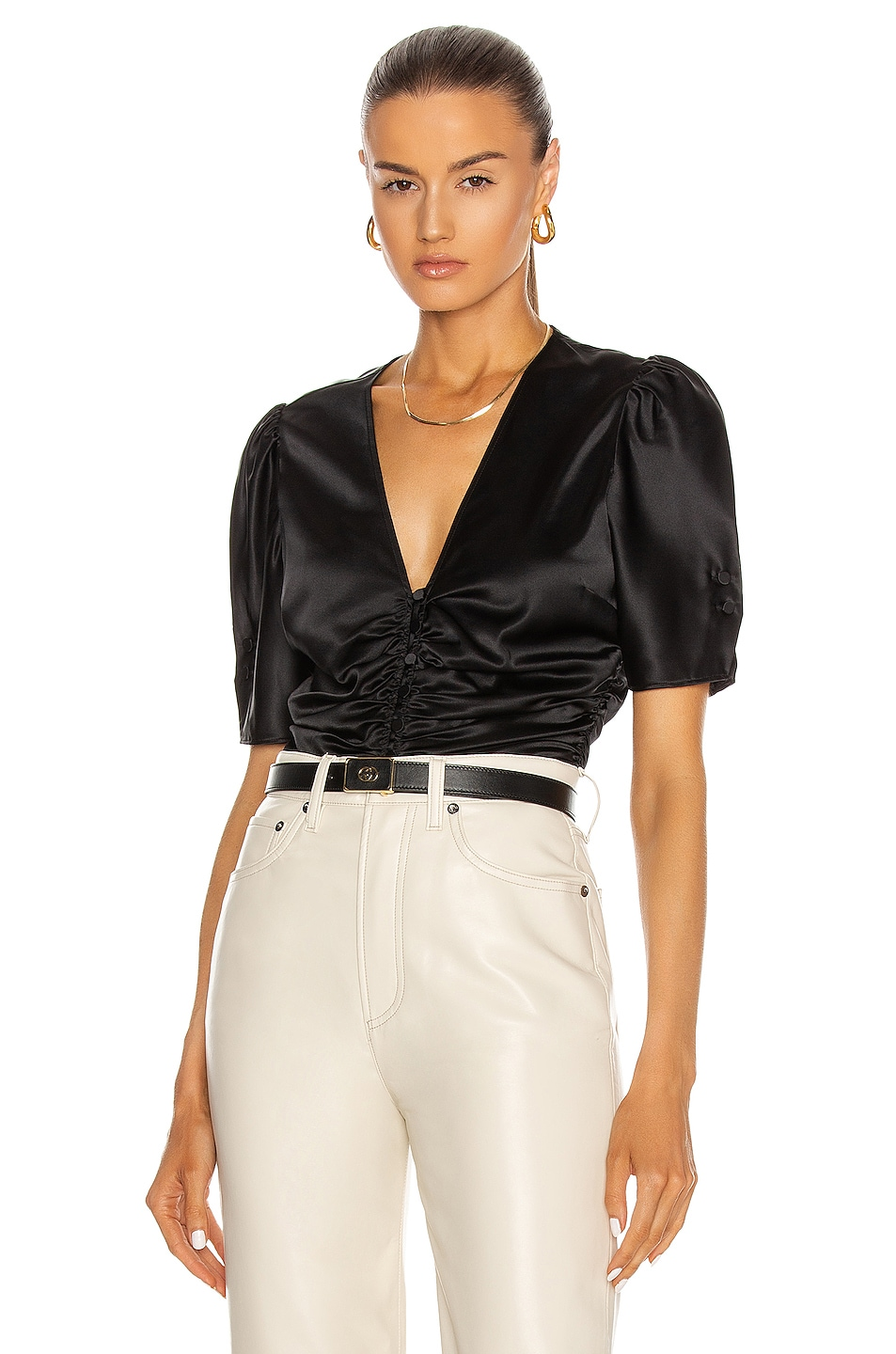 Image 1 of FRAME Camile Top in Noir