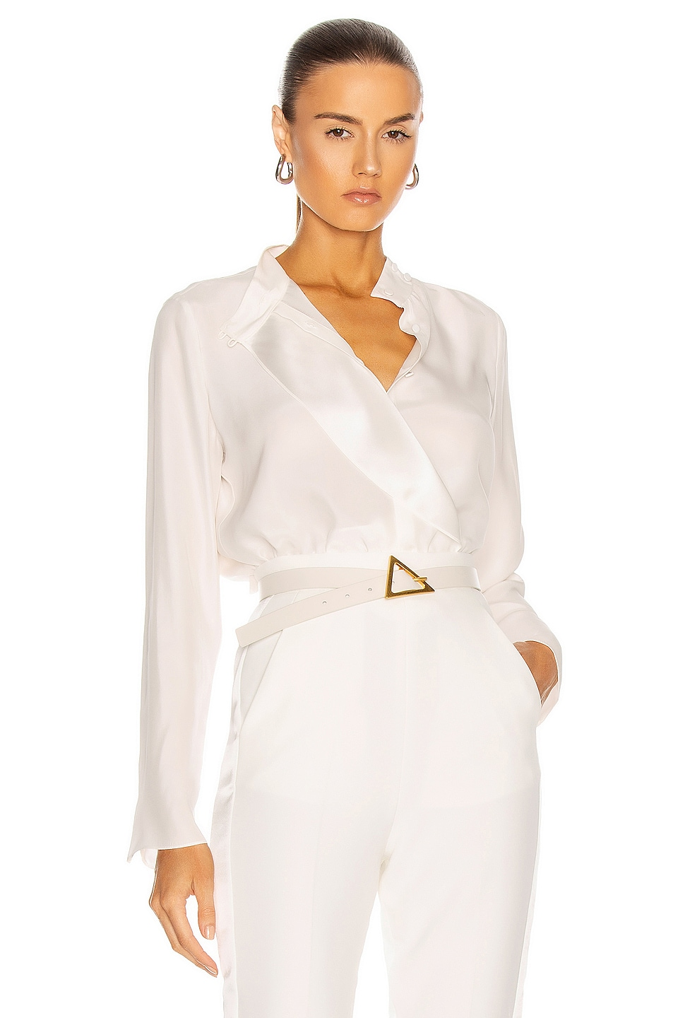 Image 1 of FRAME Cravat Collared Blouse in Off White